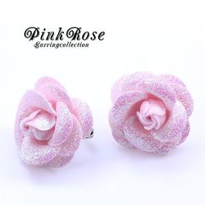 【 売り切り商品!】 ピンクのローズイヤリング♪薔薇のイヤリングです♪ バラ Hb-2061