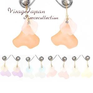 日本製 花びらピアス 大ぶりのピアス フラワー 大き目のピアス 耳飾り 飾品 rs-1914