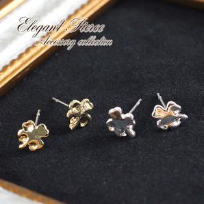 ★シンプルなプチピアス★四つ葉のクローバー♪小さくて可愛い♪ゴールド&シルバー/SL-1261