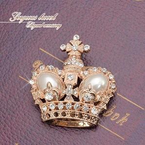 ★ゴージャス★王冠のキラキラブローチ♪ピンクゴールドのクラウンが輝く/SL-1320