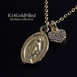 ★14KGF★マリアとハートのオーバルネックレス★14金ゴールドフィルド/楕円形ネックレス/Gg-1538