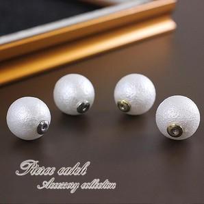 【コットンパール風】14mm真珠のピアスキャッチ♪ホワイト×ゴールド・シルバー/一粒/tp-043