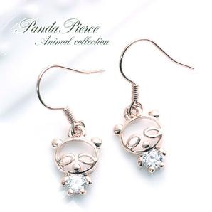 ♪可愛いアニマルモチーフ♪揺れるパンダのフックピアス♪ピンクゴールド/SL-1262
