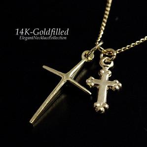 14KGF/アメリカ製/14金ゴールドフィルド/ネックレス/ダブルクロスペンダントネックレス/Gg-1532
