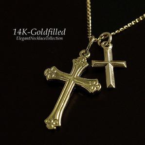 14KGF/アメリカ製/14金ゴールドフィルド/ネックレス/ダブルクロスペンダントネックレス/Gg-1531