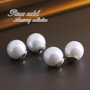 【パールのキャッチ】8mm真珠のピアスキャッチ♪ホワイト×ゴールド・シルバー/一粒/tp-041
