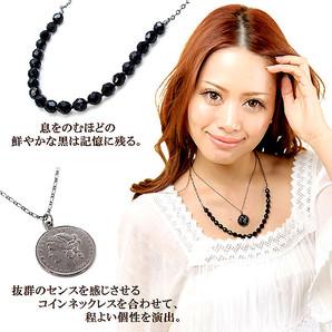 ■ Vajra ■日本製!2本セット/嬉しい3WAY!エレガントなブラックコイン二連ネックレス!Jv-5031