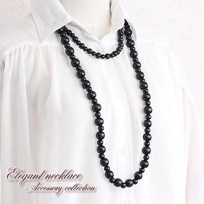 【売切り大特価】1連でも2連でもOK★ウッドビーズの数珠ロングネックレス♪存在感タップリ♪/Hb-8020