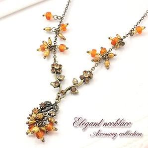 【売切り大特価】淡水真珠とラインストーンのアンティーク調ネックレス♪エレガント/Hb-6018
