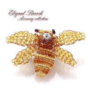 【売り切り大特価!】キュートなミツバチのブローチ♪一粒のラインストーンが輝く/琥珀色/hb-2439