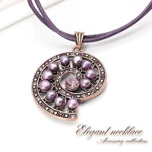 【売切り大特価】淡水パールとラインストーンのアンティーク調ネックレス♪うずまき/淡水真珠/Hb-8251