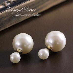 【リバーシブル!】大小真珠のピアス♪大粒パールのキャッチ付き♪チタンポスト使用/SL-1268