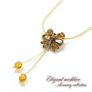 【売切り大特価】キュートなキラキラリボンのネックレス♪繊細なチェーン/ゴールド/フラワー/Hb-5818