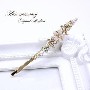 キラキラ★フラワーが輝く華やかなヘアーピン♪お花のヘアアクセサリー/ゴールド/z-838