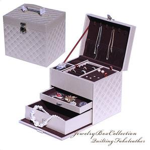 【visage】◆上品な大人デザイン!キルティング高級宝石箱♪ ジュエリー/アクセサリーケース♪JBOX-9200