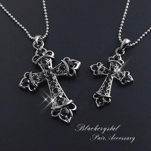 ★大人気!ブラックストーン&ブラックメタル!ユニセックスクロスネックレス/Cross♪/SL-1119
