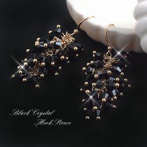 ★ドレスにぴったり!ゴージャスブラッククリスタル使用♪黒水晶フックピアス!SL-1165