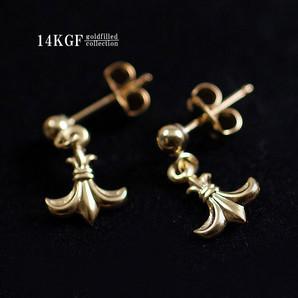 14KGF/百合の紋章のスタッドピアス♪14金ゴールドフィルド/シンプルな花のピアス/Gg-1523