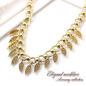 【売切り大特価】ゴージャスなリーフのネックレス♪存在感のあるゴールドチェーン/じゃらじゃら/Hb-4979