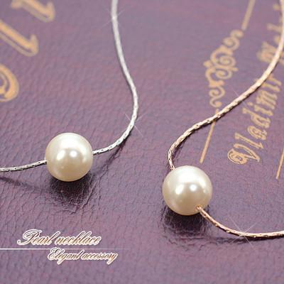 ★キュートな一粒★パールのネックレス♪華奢なチェーンが女性らしい♪ピンクゴールドorシルバー/SL-1319