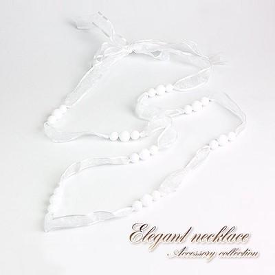 【売切り大特価】ホワイトのリボンがフェミニンな首飾り♪1連・2連ネックレス/Hb-8747