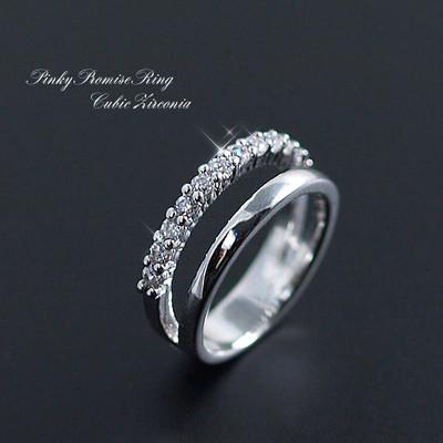 ☆願いが叶いますように☆小指の指輪!大人気ピンキーリング!CZ12石使用!E-735