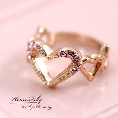 ★スウィートでロマンチックなきらめくハートリング♪ピンクゴールド/ピンクラインストーン♪SL-1215