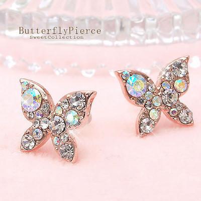 ≪チタンポスト≫きらめくオーロラクリスタル!ピンクゴールドバタフライピアス♪蝶々 SL-1146